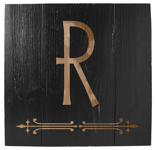 Rustic Letters Wall Decor : Personalized black rustic wooden wall art r