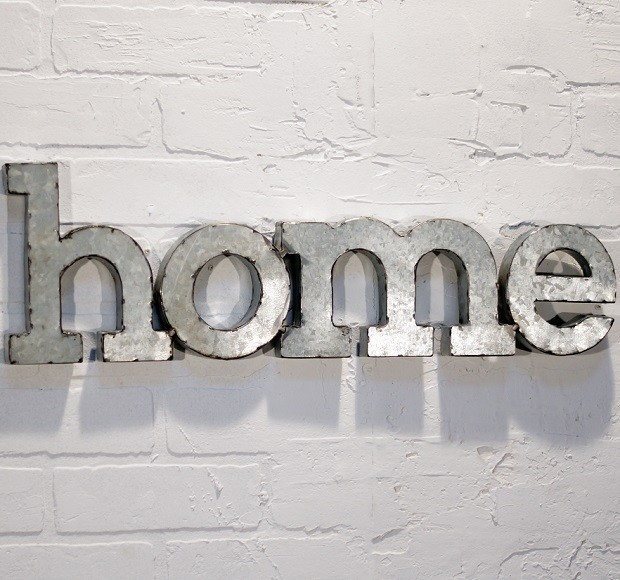 Metal word wall art home miami by antique farmhouse for Decoration word