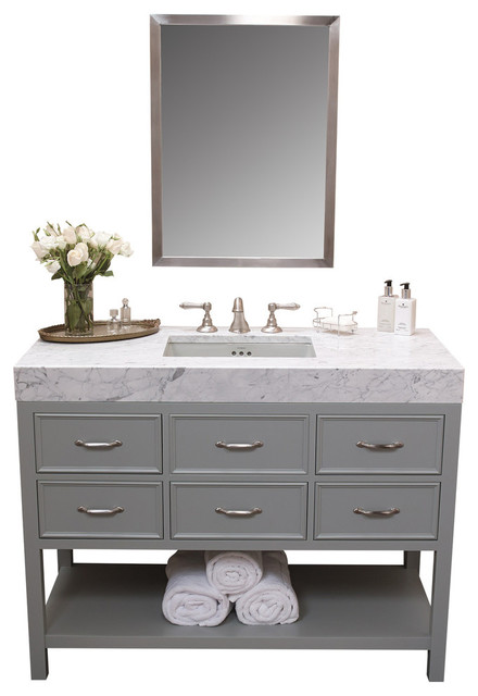 Ronbow Newcastle Solid Wood 48 Vanity Set With Ceramic Sink And Mirror Transitional Bathroom
