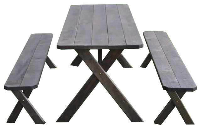 Pressure Treated Pine Cross Leg Picnic Table With Detached Benches, Walnut Stain