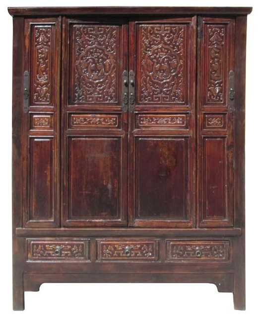 Chinese Antique Solid Wood Hand Carving Armoire Cabinet