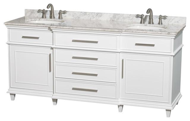 "Berkeley 72"" Double Bathroom Vanity, White, No Mirror."