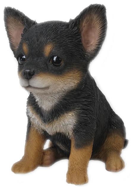 Etonnant Realistic Chihuahua Puppy Dog Garden Statue, Black/White