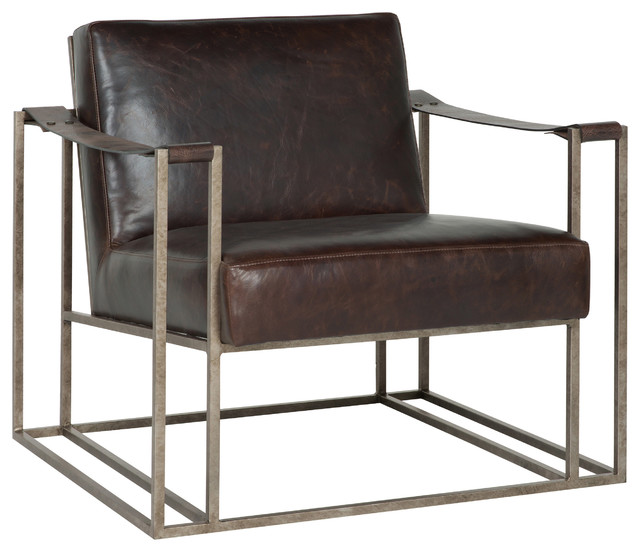 Gideon industrial silver metal leather strap armchair for Metal living room chairs