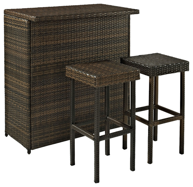 Palm Harbor 3 Piece Outdoor Wicker Bar Set Table And Two Stools Tropical