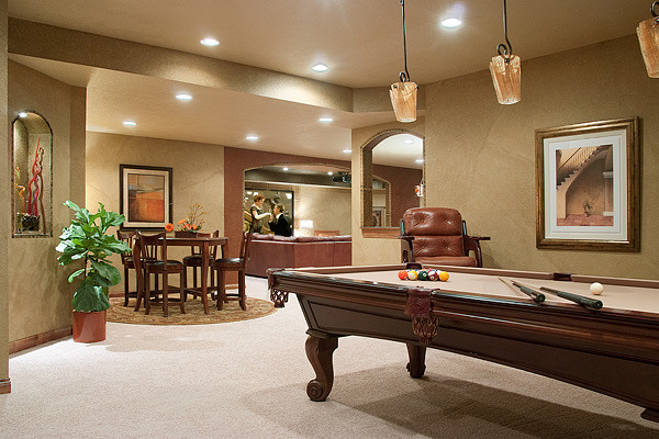 Media game room transitional basement milwaukee by for Room decorating games