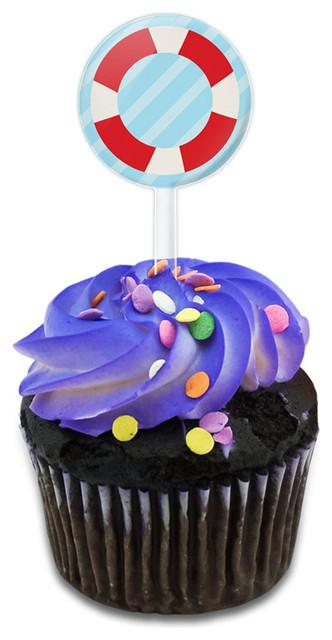 Nautical Lifesaver Cupcake Toppers Picks Set.