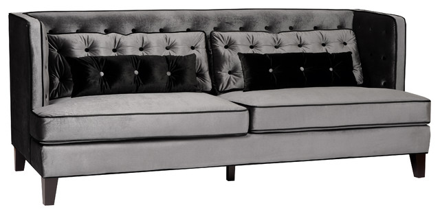 moulin velvet sofa with piping grayblack