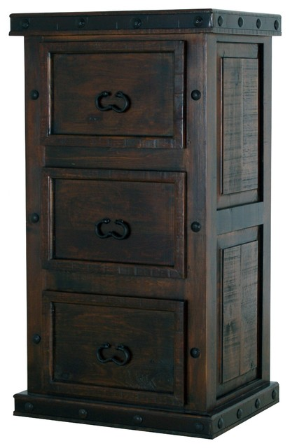 3-Drawer File Cabinet Darkwood - Rustic - Filing Cabinets - by QUETZAL & COATL, LLC