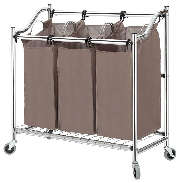 Storagemaniac Rolling Laundry Hamper With 3 Section Sorters