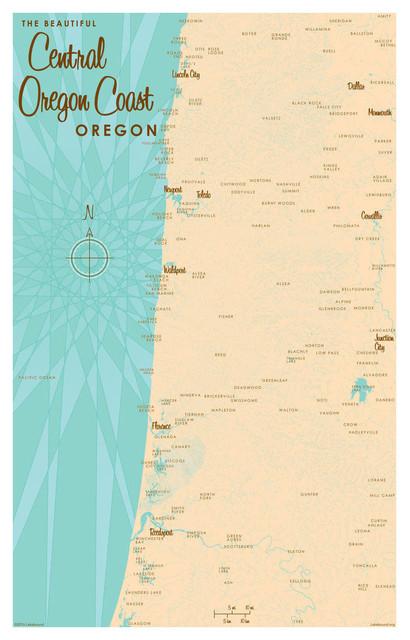 "Lakebound Central Oregon Coast Map Art Print, 30""x45"""