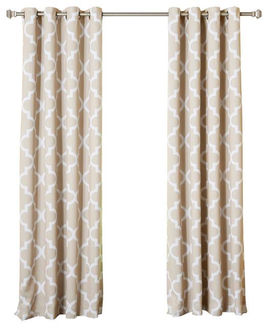 "Moroccan Tile Grommet Curtains, Pair, Beige, 108""."