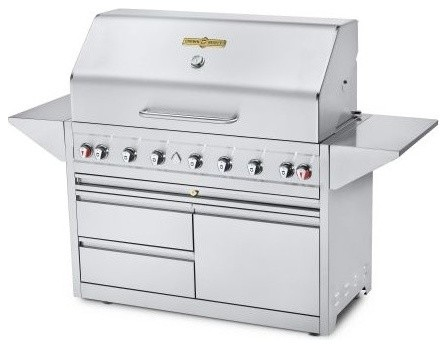 "Estate Elite 48"" Double Drawer Cart Single Lid Grill, Propane."