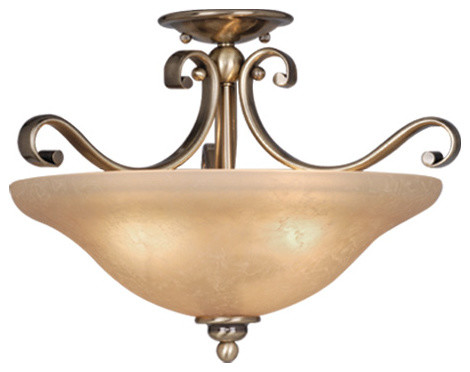Monrovia 17 Semi-Flush Mount Light, Antique Brass/cognac Crackle.