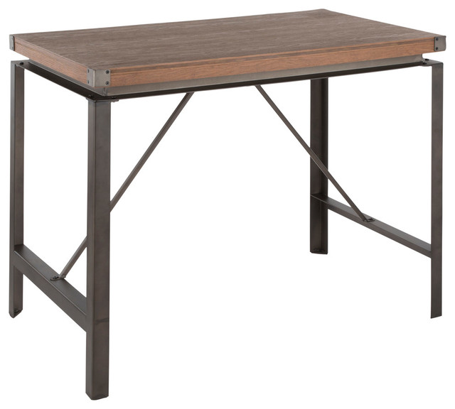 Lumisource Arbor Counter Table, Antique Metal and Brown Wood