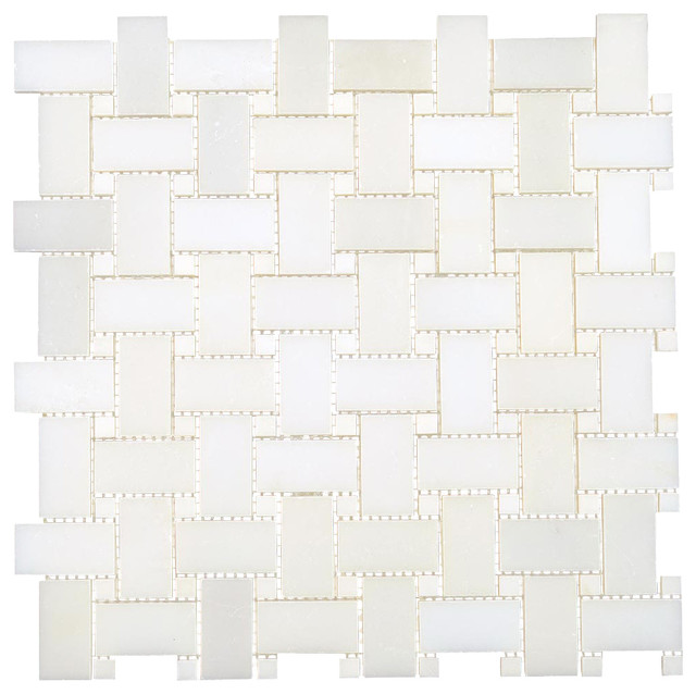 12 Quot X12 Quot Thassos White Marble Polished Basketweave Mosaic