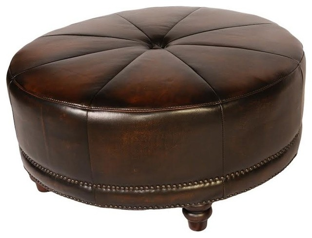Lazzaro Leather Cindy Round Ottoman, Black And Tan.