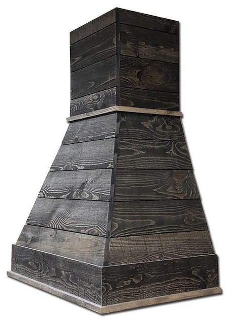 Castlewood Rustic Shiplap Chimney Hood With Liner And Ventilator, Rustic/Spruce,