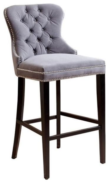 Incredible Abbyson Living Miiko Tufted Velvet Bar Stool Gray Alphanode Cool Chair Designs And Ideas Alphanodeonline