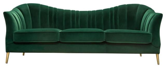 Ava Sofa In Emerald Green Velvet W Gold Leg Midcentury
