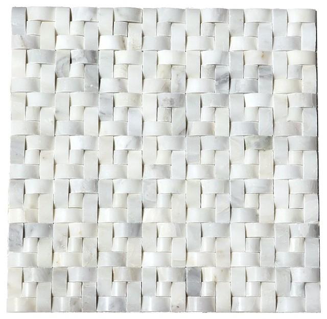 Polished Arabescato Carrara Interwoven Marble Tile, Gray, White, Single Sheet by Tilesbay