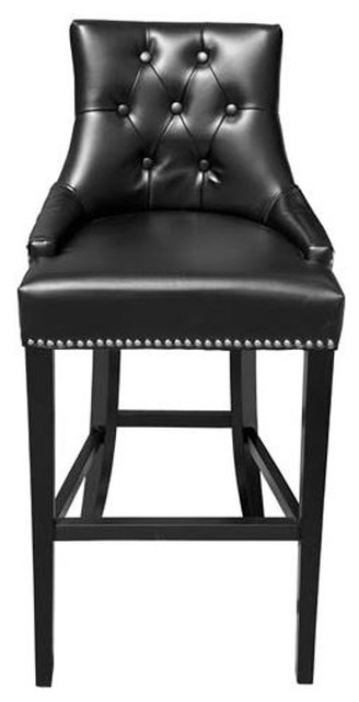 Tufted Leather Stool Transitional Bar Stools And