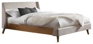 Palmer Platform Bed With Upholstered Exterior and Light Oak Wooden Side Rails, K