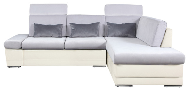 Faux Leather Microfiber Sectional Sofa, Adjustable Headrest, White/Light  Gray