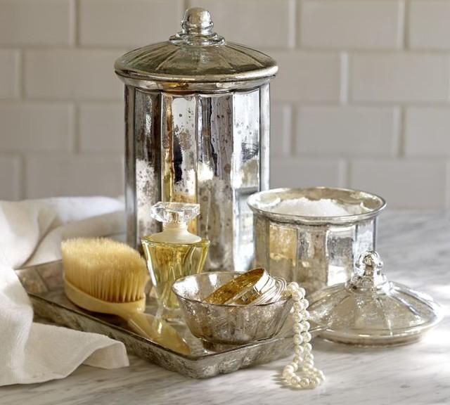 Mercury glass bath accessories bathroom accessories by for Bathroom decor pottery barn