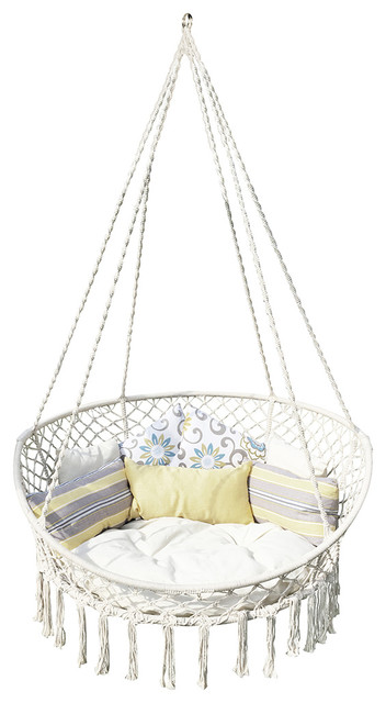 Tremendous Bliss Macrame Hanging Hammock Chair With Pillows Pabps2019 Chair Design Images Pabps2019Com