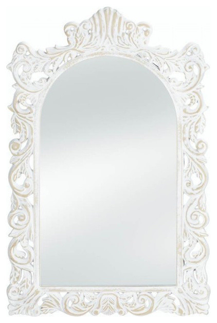 Distressed Wall Mirror, Distressed White.
