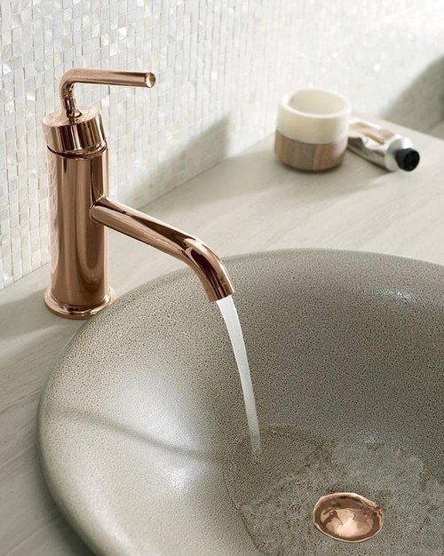 A Kohler Purist Bathroom Sink Faucet In Rose Gold Paired With The Shagreen  Bathroom Sink In Neutral Taupe Creates A Subtle Statement For Your Bathroom.