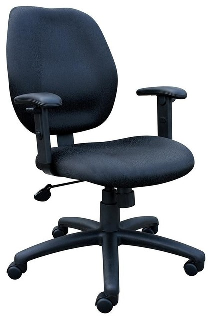 Task Chair W Adjustable Arms In Black Contemporary