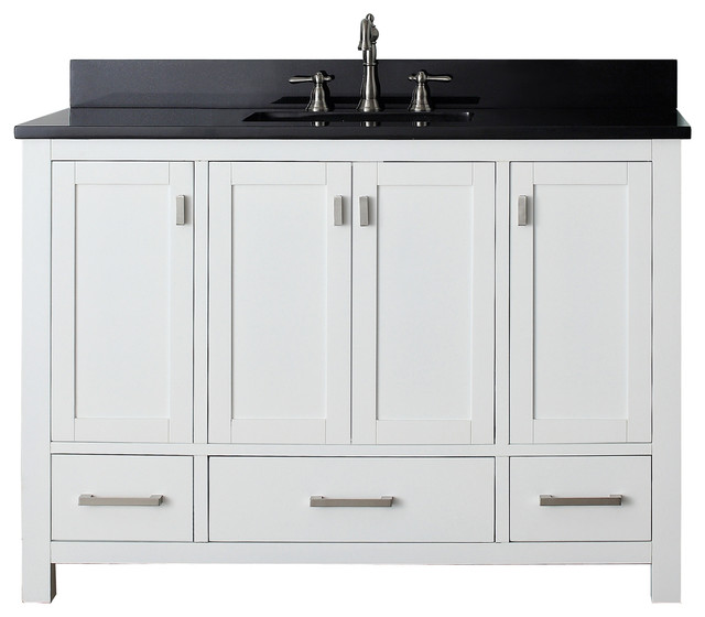 "Avanity Modero 49"" Vanity, White Finish, Black Granite Top"