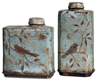 Freya light sky blue containers 2 piece set farmhouse for Hearth and home designs canister set