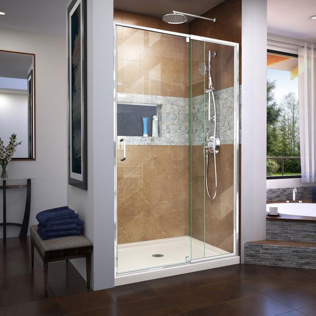 Flex 36 X 48 X 74 34 Frameless Pivot Shower Door And Slimline