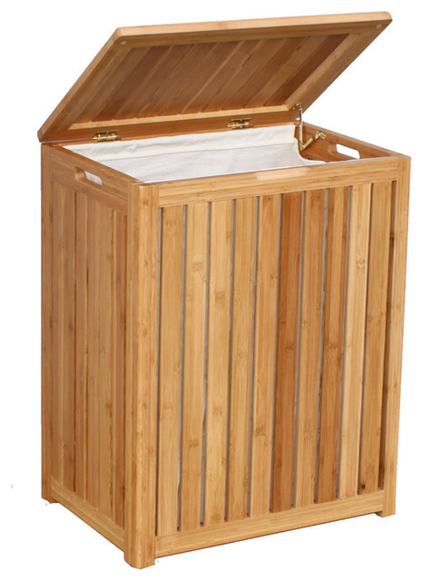 [s]spa-Style Bamboo Laundry Hamper By Oceanstar. -1