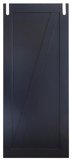 "Modern Z Sliding Barn Door, Painted Benjamin Moore Shadow, 84""x36""."