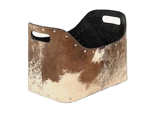 Tan and White Cowhide Magazine Basket With Chrome Rivets