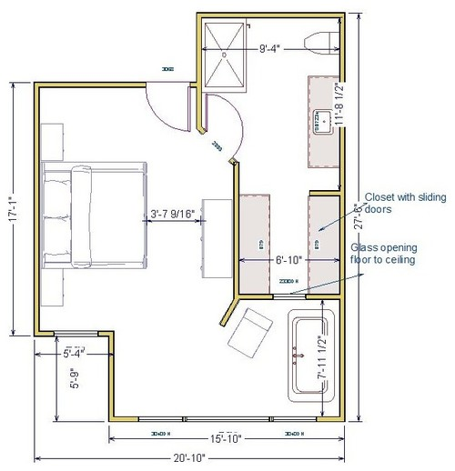 Builder designer needs opinions on layout for master bed for Ensuite design plans
