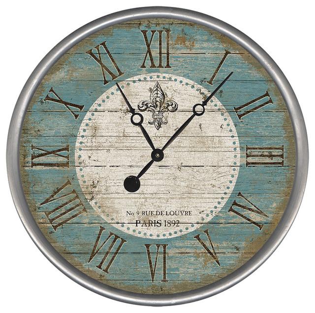 Fleur Round Vintage Clock Farmhouse Wall Clocks By
