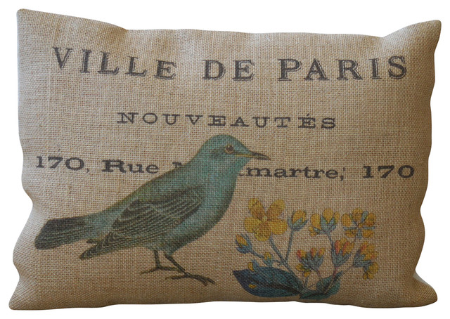 "Burlap Pillow Blue Bird, 12""x16"". -1"