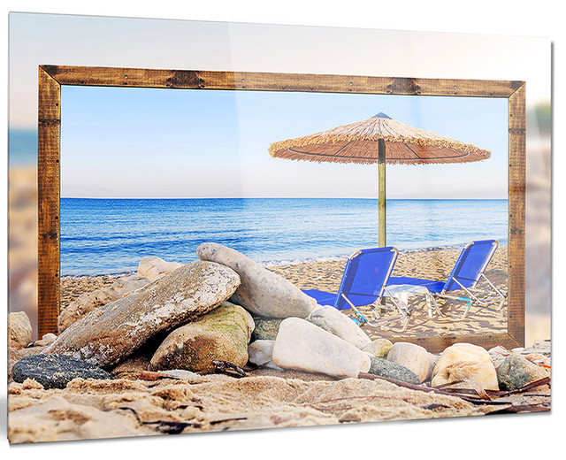 Metal Umbrella Wall Decor : Design art usa quot framed beach with chairs umbrella metal