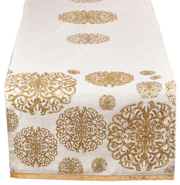 Hand Beading Gold Flourishes Table Runner