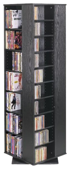 Leslie Dame Cd Dvd Spinning Tower, Black.