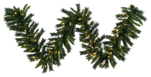 Imperial Pine Garland, 16x50&x27;, Warm White Led Lights.