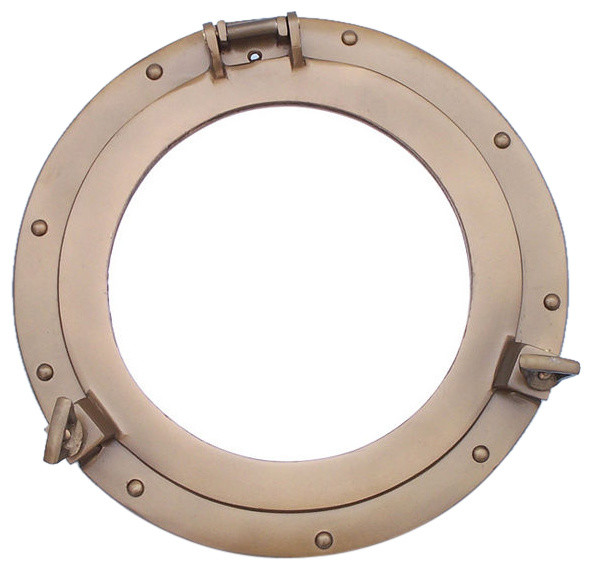 "Deluxe Class Antique Brass Ship Porthole Window 15""."