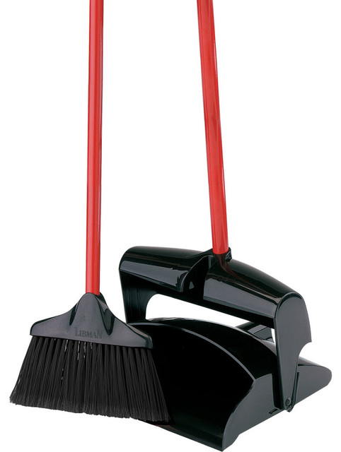 Closed Lid Dust Pan With Lobby Broom Contemporary Mops