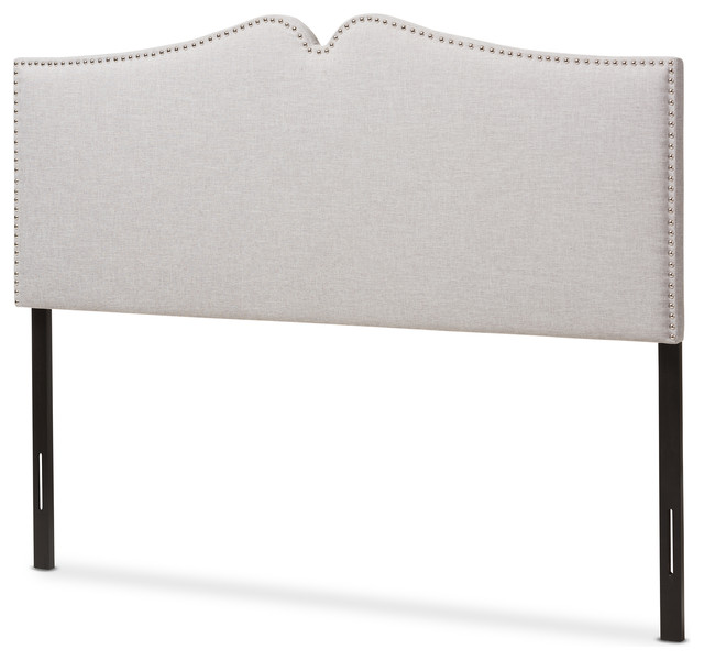 Gracie Grayish Beige Fabric Upholstered Queen Size Headboard, Nail Heads Trim.