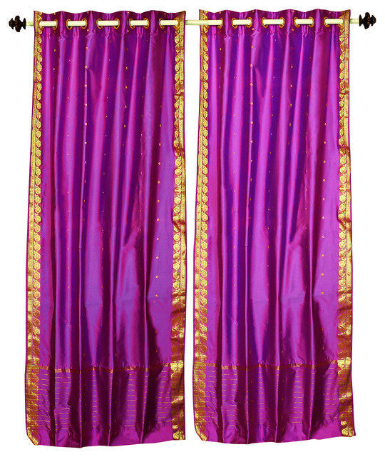 Lined, Violet Red Ring Top Sheer Sari Curtain Drape, 43wx108l, Piece.